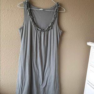 Garnet Hill S gray ruffle tank dress cotton knit